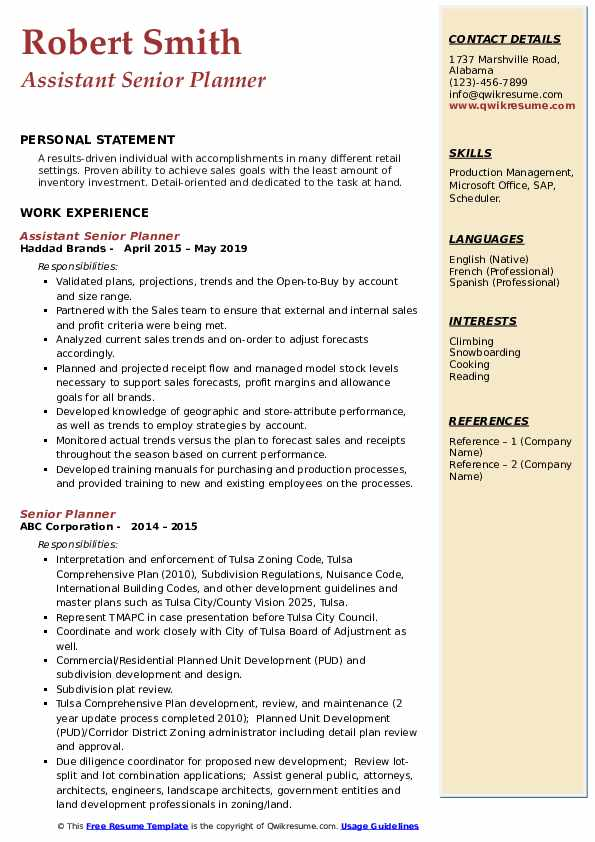 Assistant Senior Planner Resume Example