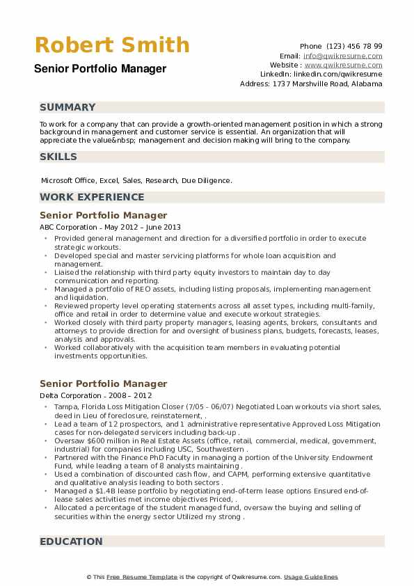 Senior Portfolio Manager Resume example