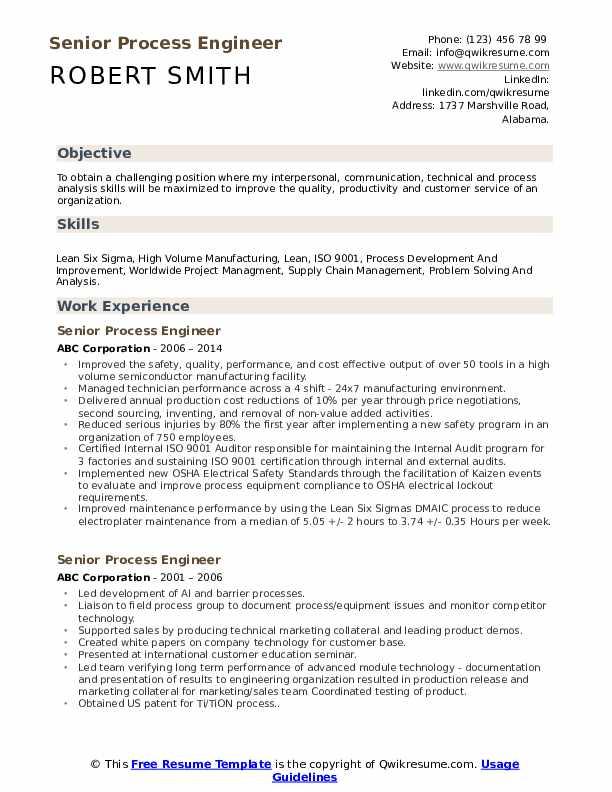Senior Process Engineer Resume Sample