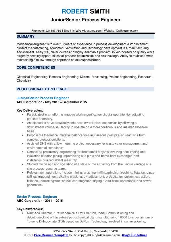 Junior/Senior Process Engineer Resume Example