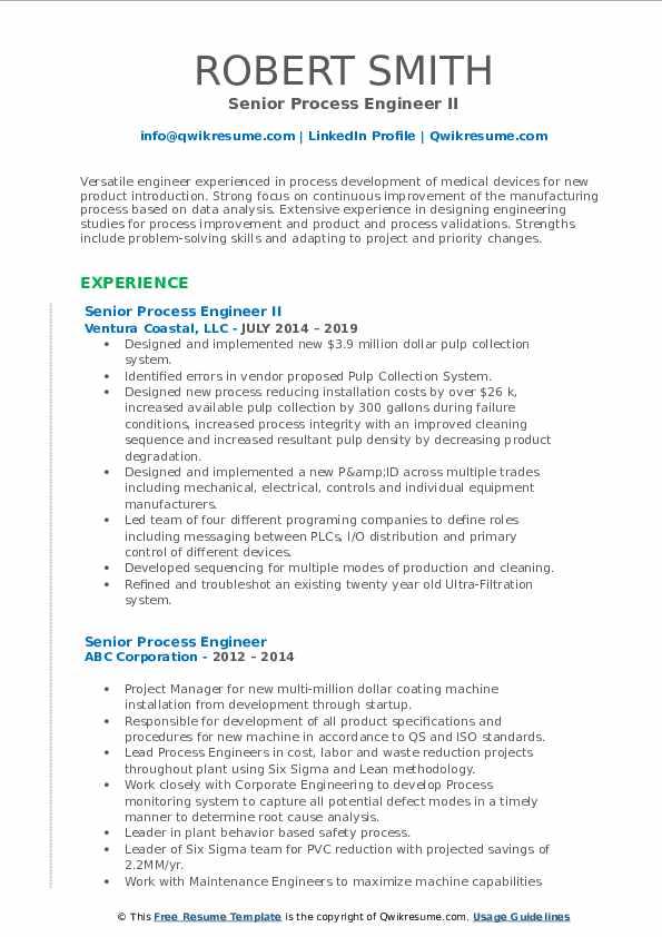 Senior Process Engineer Resume Samples Qwikresume