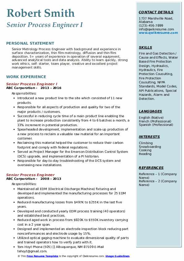 Senior Process Engineer I Resume Format