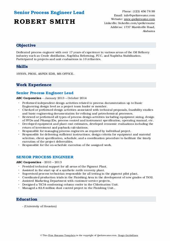Senior Process Engineer Lead Resume Format
