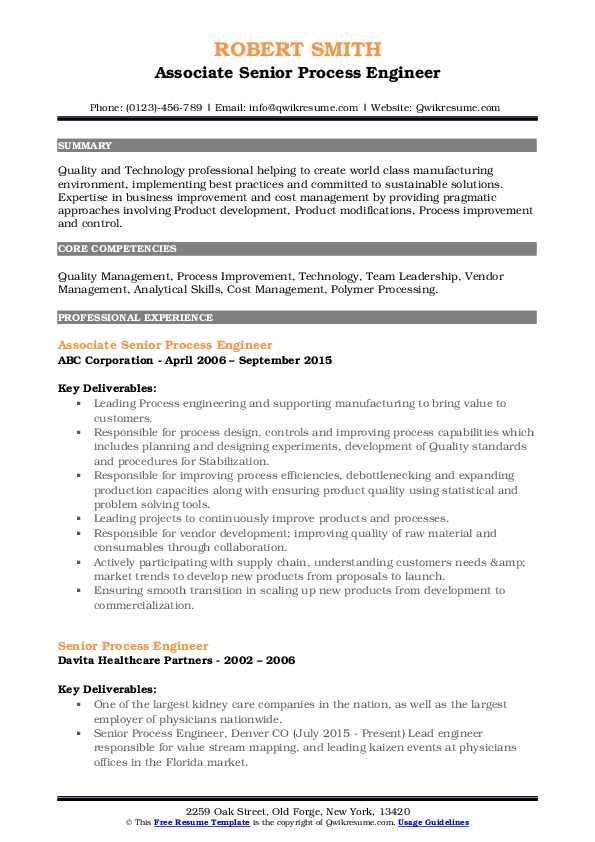 Associate Senior Process Engineer Resume Sample