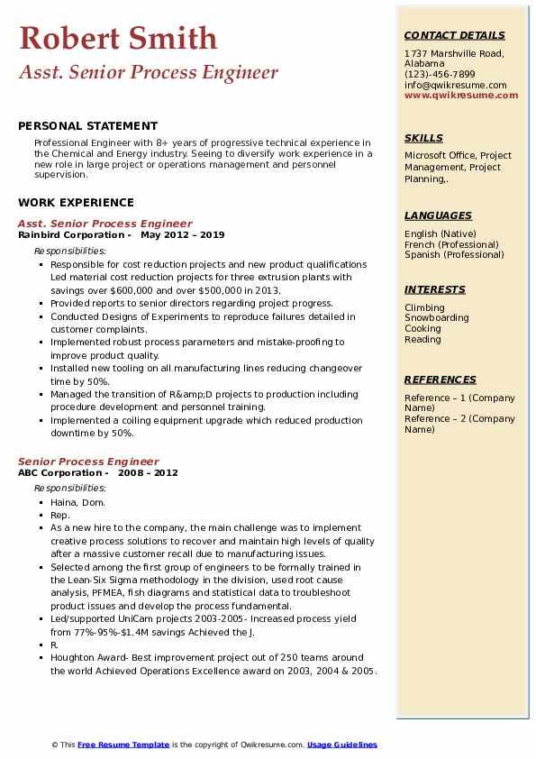 Asst. Senior Process Engineer Resume Model