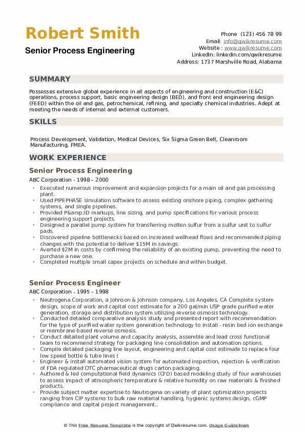 Senior Process Engineering  Resume Model