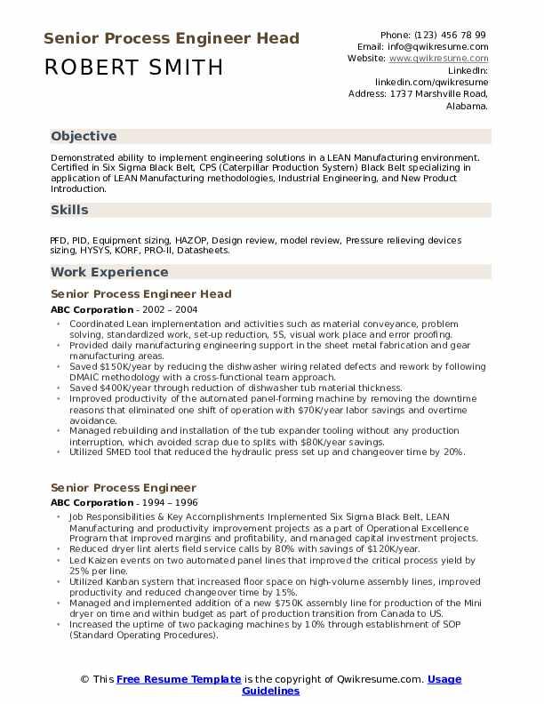 Senior Process Engineer Head Resume Format