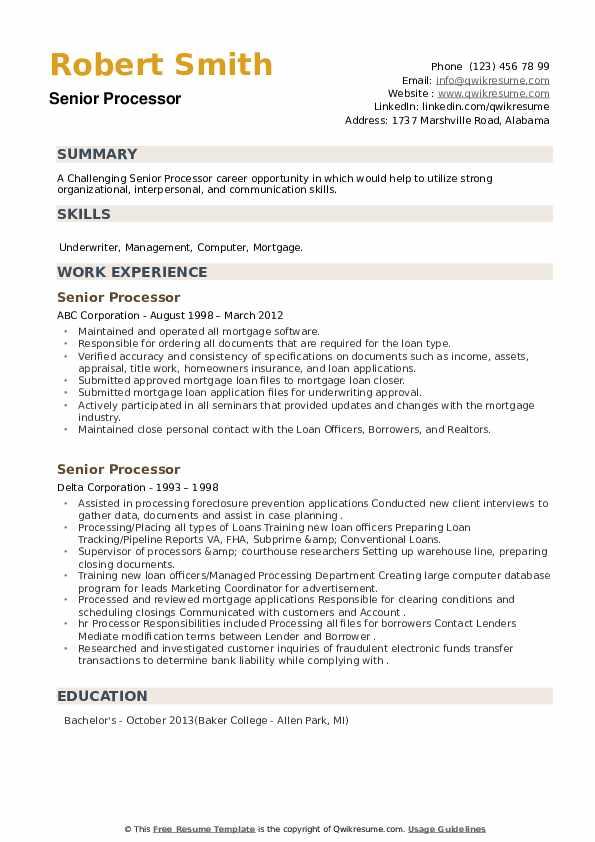Senior Processor Resume example