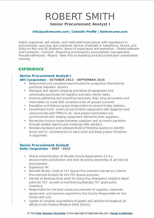 senior procurement analyst resume samples  qwikresume