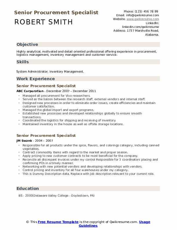 Senior Procurement Specialist Resume example
