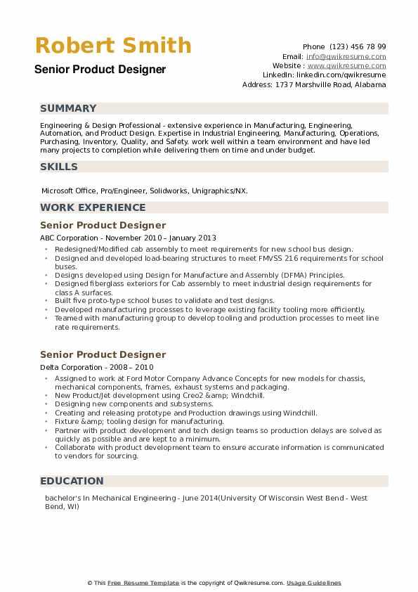 Senior Product Designer Resume example