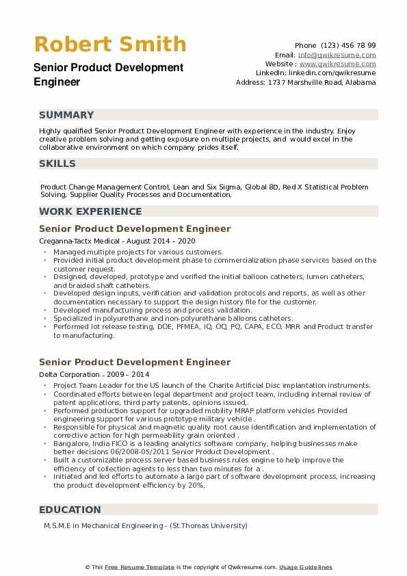 Senior Product Development Engineer Resume example