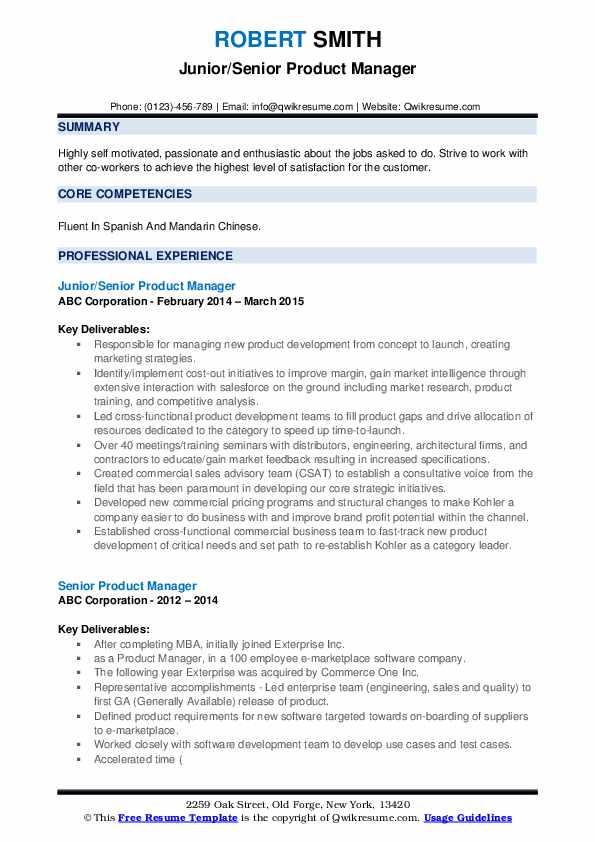 Junior/Senior Product Manager Resume Sample