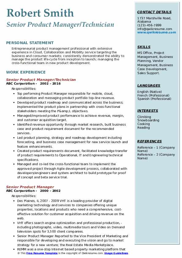 Senior Product Manager/Technician Resume Example