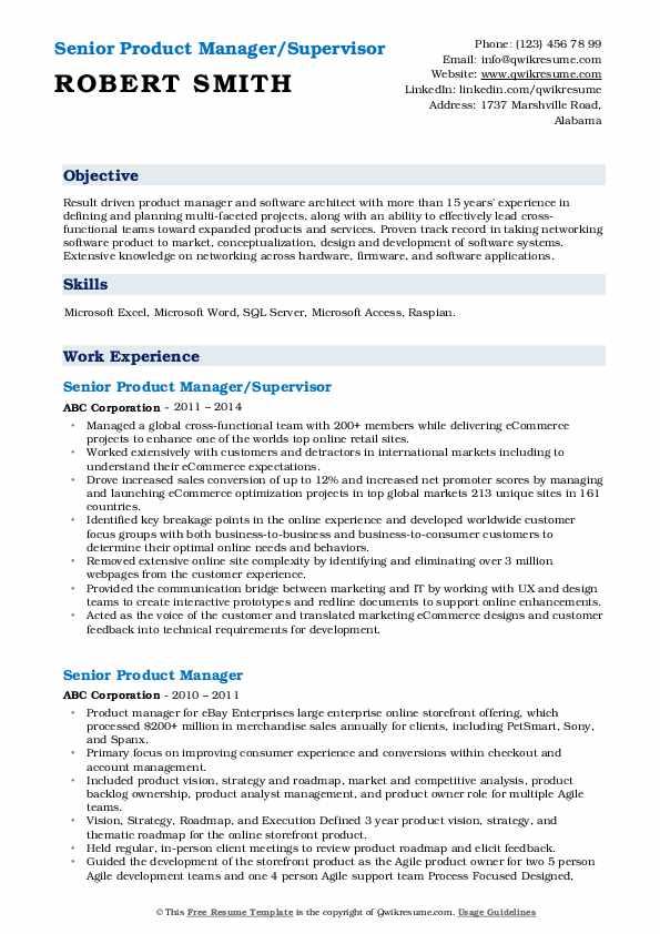 Senior Product Manager/Supervisor Resume Model