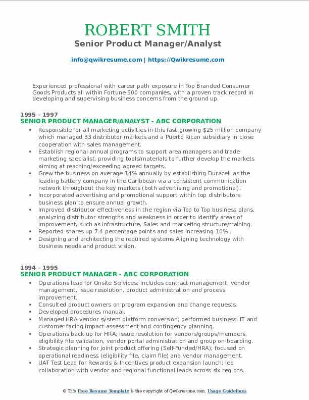 Senior Product Manager/Analyst Resume Example