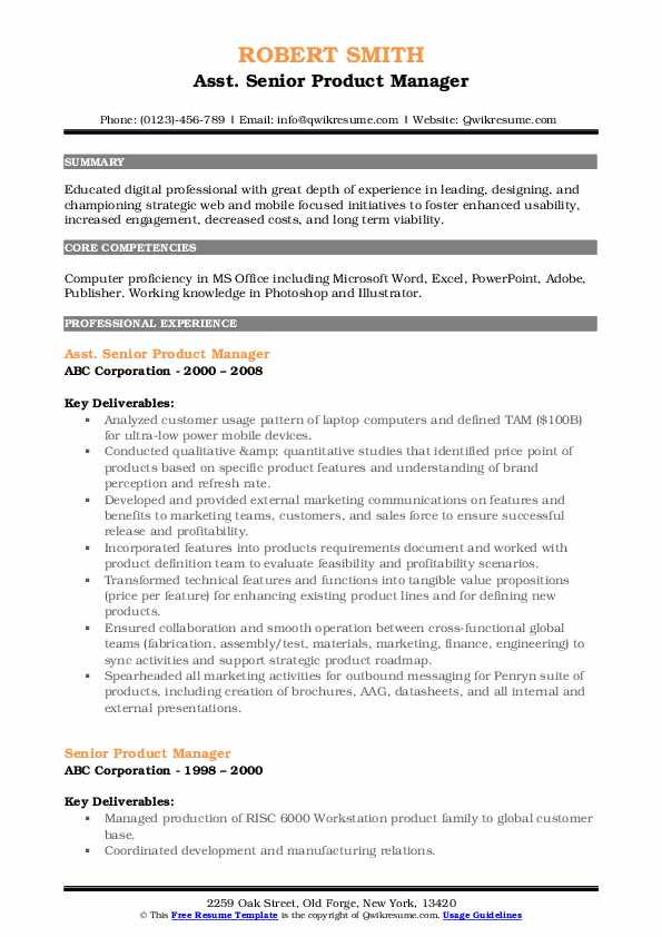 Asst. Senior Product Manager Resume Example