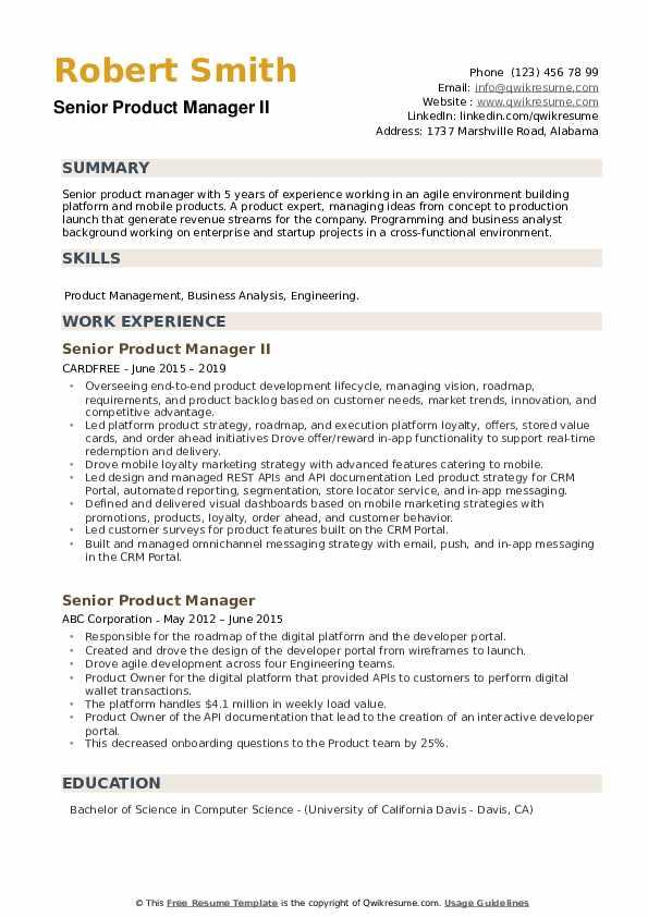 Senior Product Manager II Resume Sample