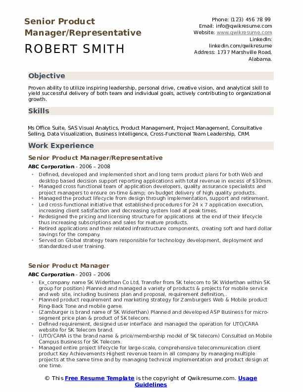 Senior Product Manager/Representative Resume Model