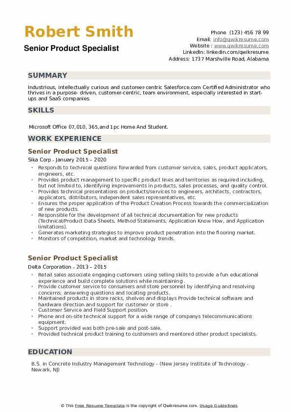 Senior Product Specialist Resume example