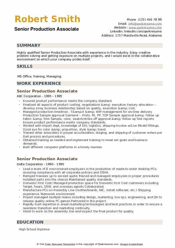 Senior Production Associate Resume example