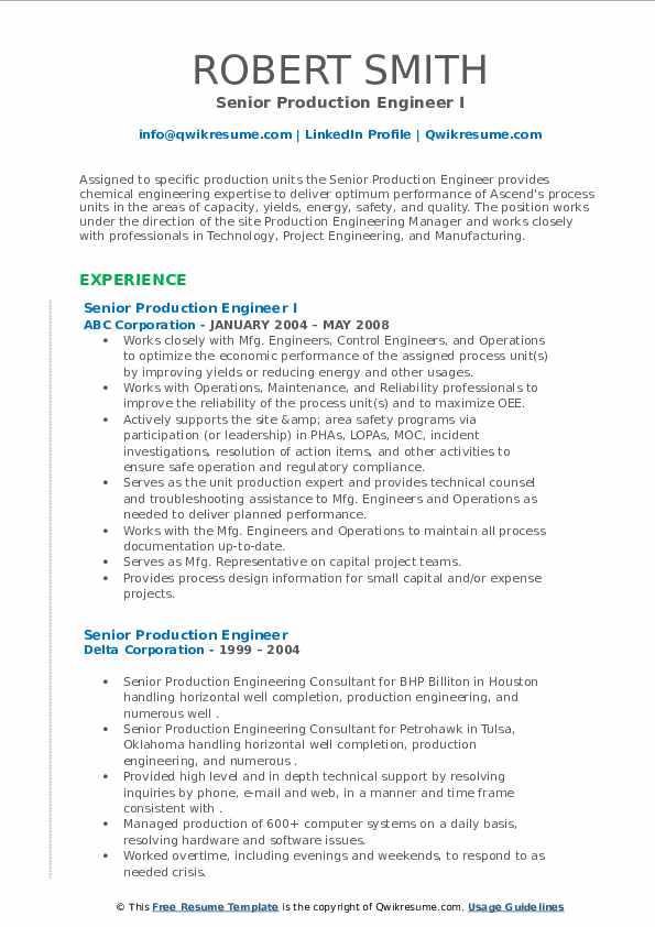 senior production engineer resume samples