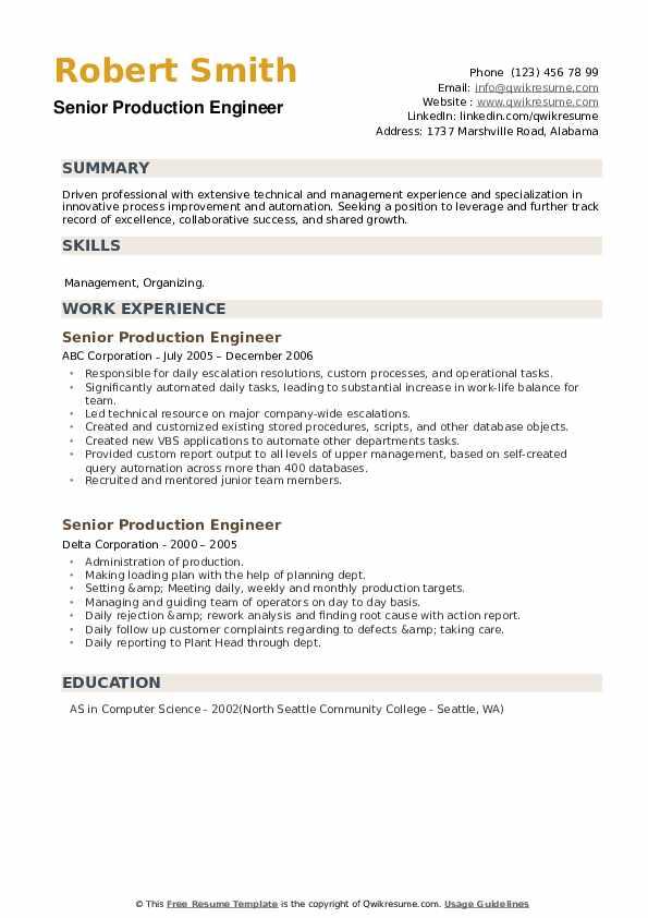 Senior Production Engineer Resume example