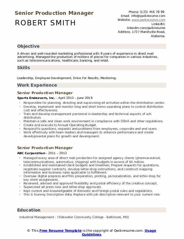 Senior Production Manager Resume example