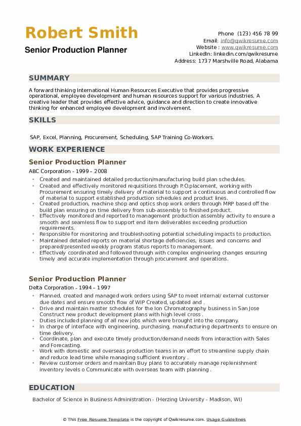Senior Production Planner Resume example