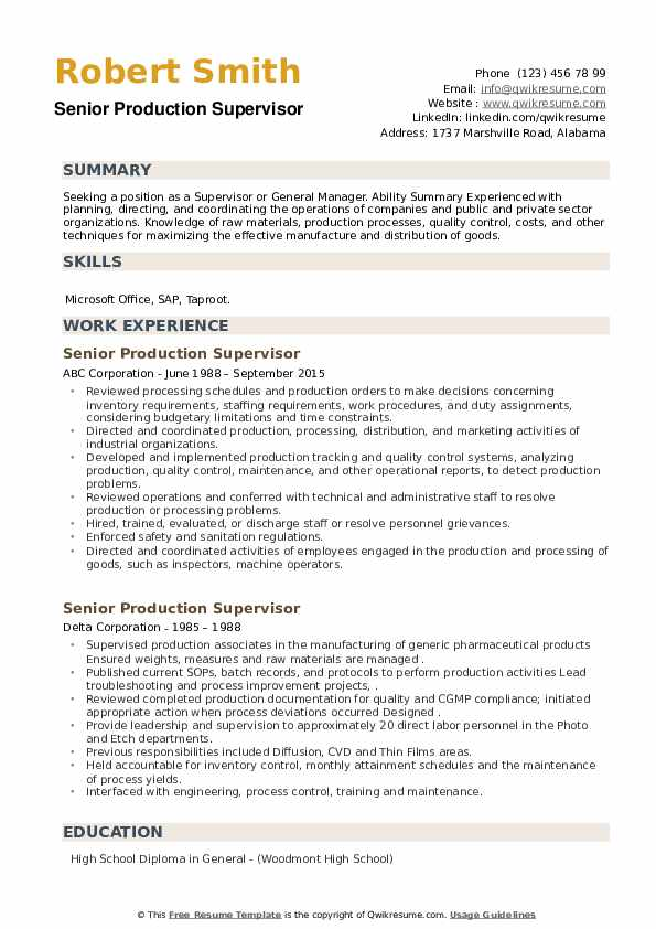 Senior Production Supervisor Resume example