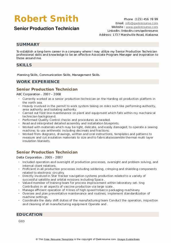 Senior Production Technician Resume example