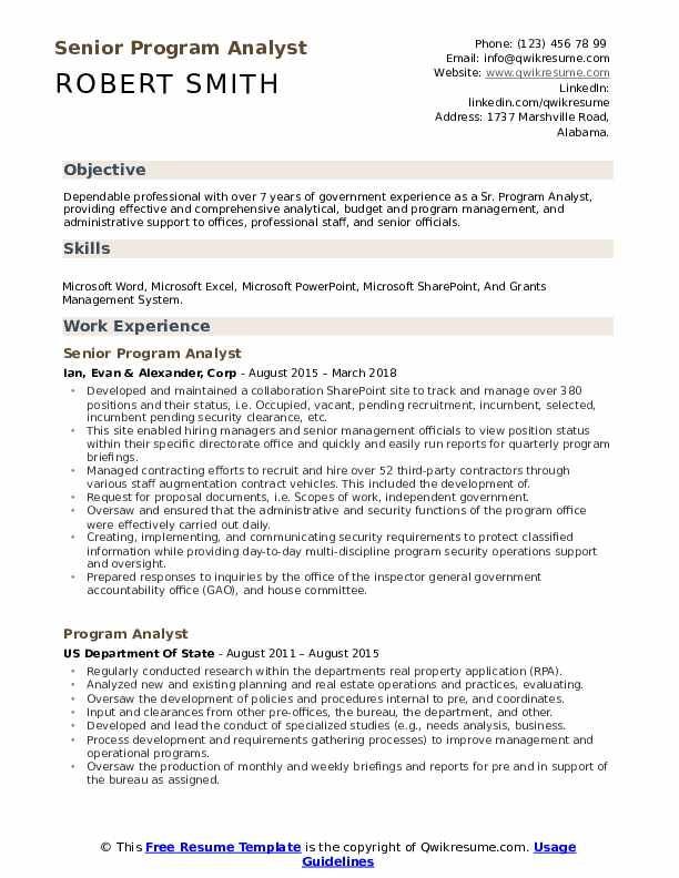 Senior Program Analyst Resume Model