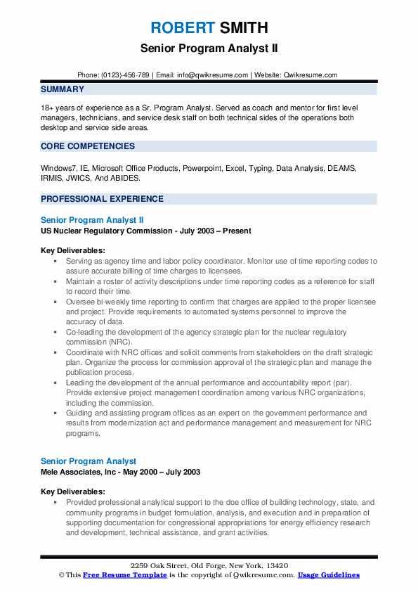 Senior Program Analyst II Resume Template