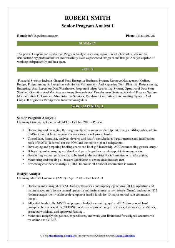 Senior Program Analyst I Resume Sample