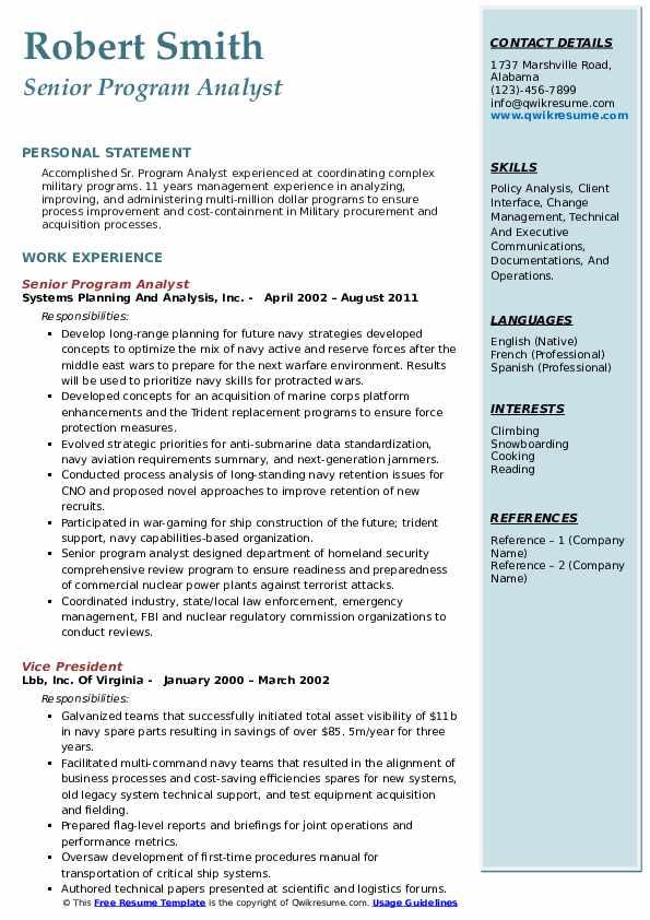 Senior Program Analyst Resume Example