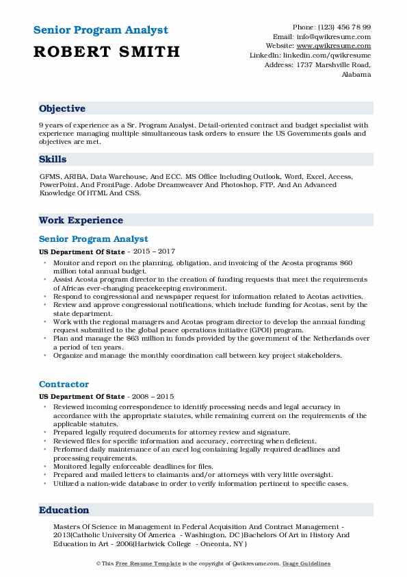 Senior Program Analyst Resume Sample