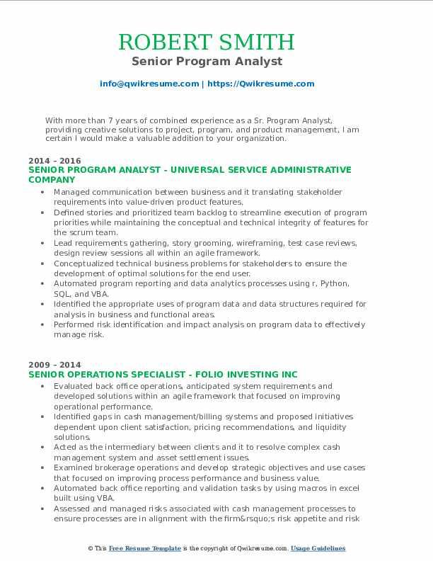 Senior Program Analyst Resume Template