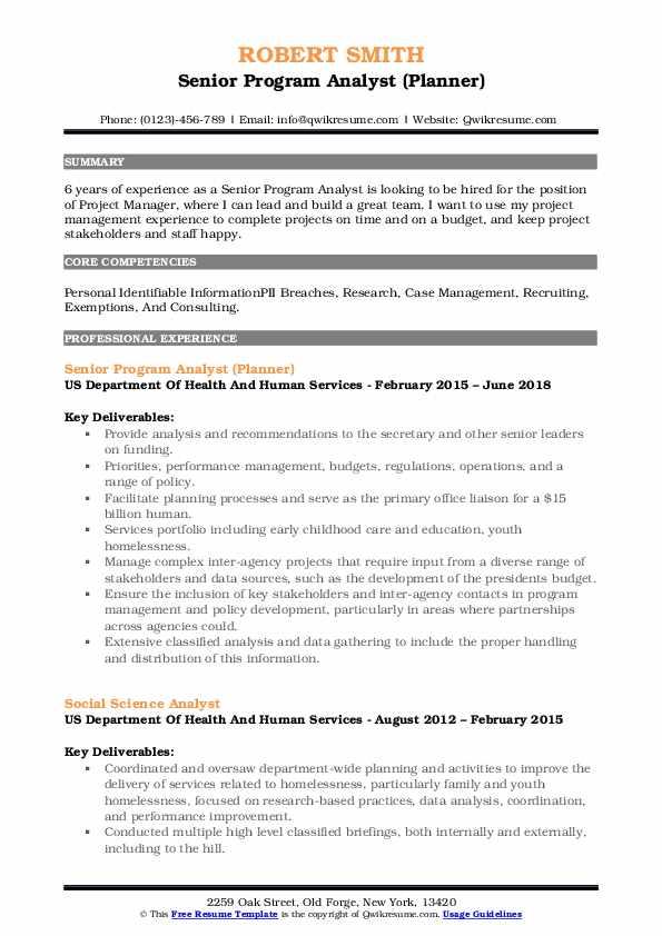 Senior Program Analyst (Planner) Resume Format