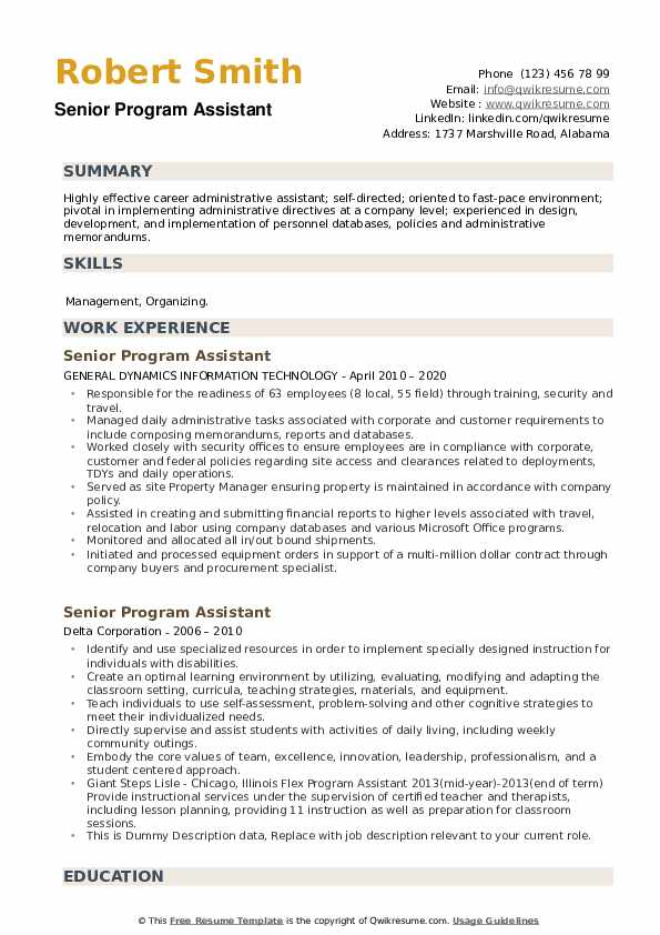 Senior Program Assistant Resume example