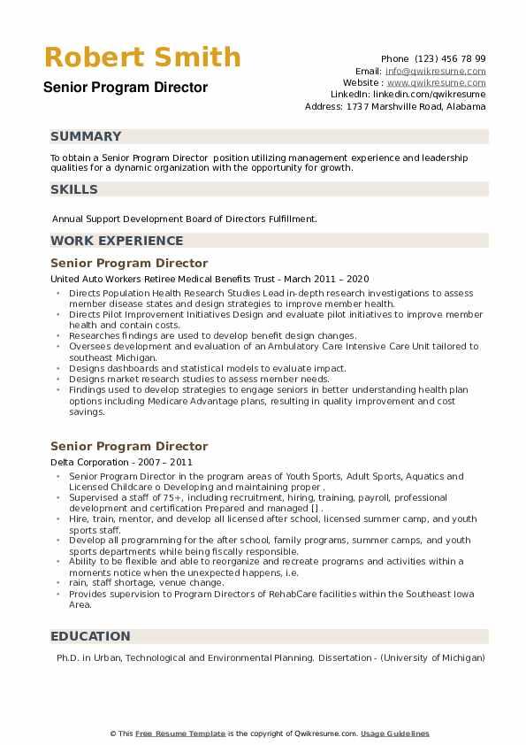 Senior Program Director Resume example