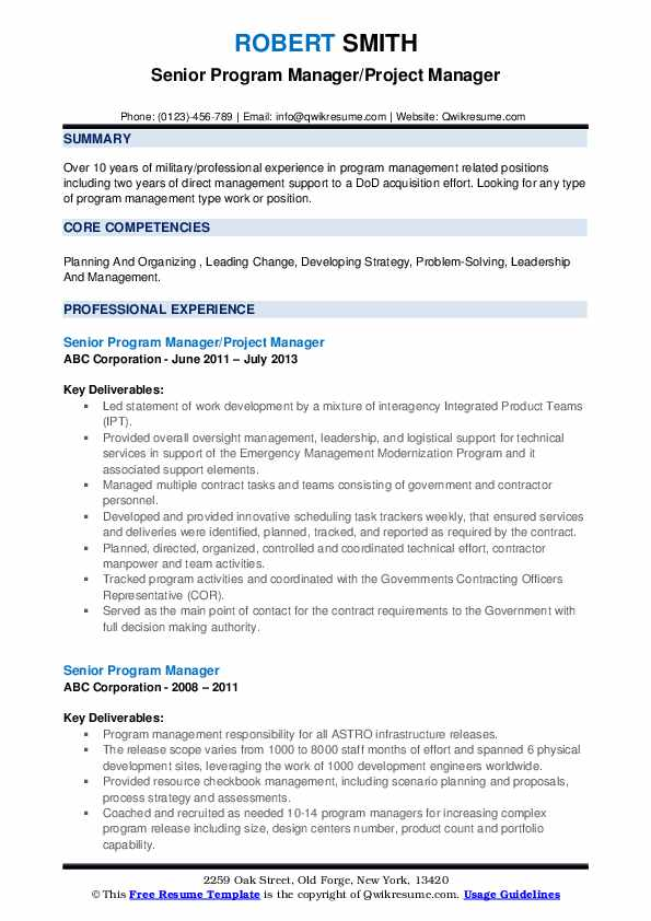 senior program manager resume samples