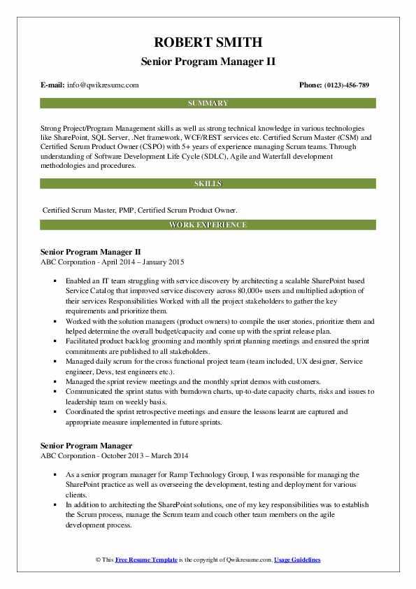Senior Program Manager II Resume Sample