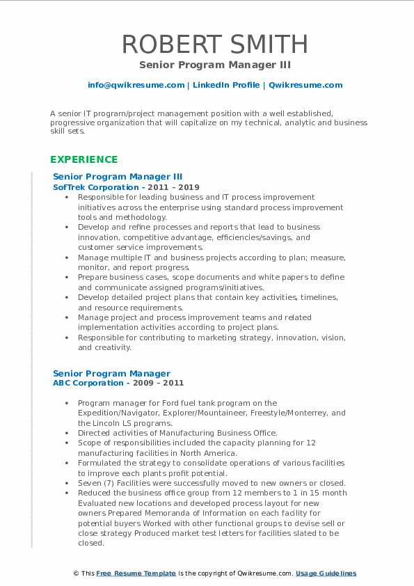 Senior Program Manager III Resume Template