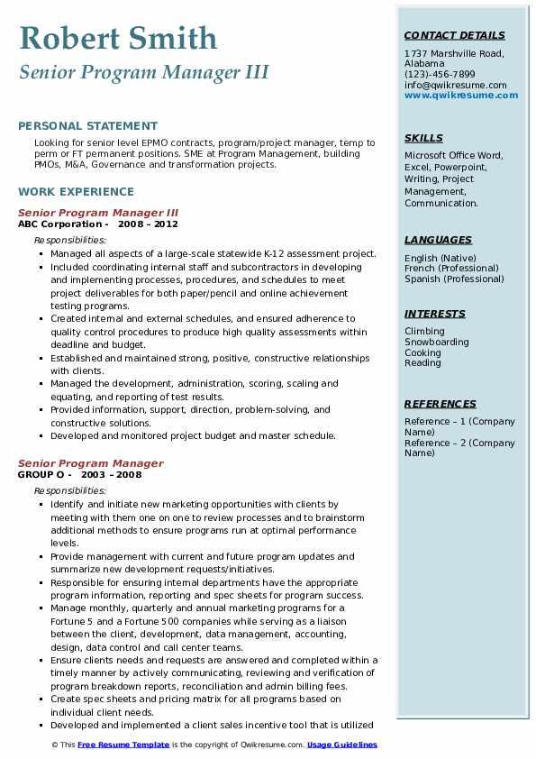 Senior Program Manager III Resume Model