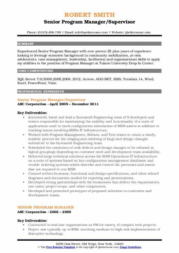 Senior Program Manager/Supervisor Resume Format