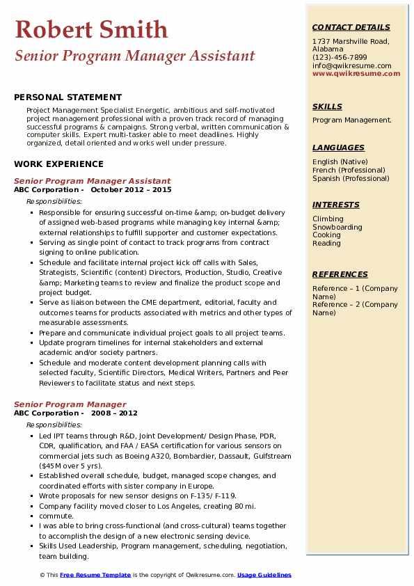 Senior Program Manager Assistant Resume Model