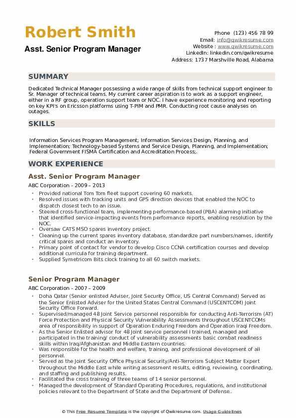 Asst. Senior Program Manager Resume Example