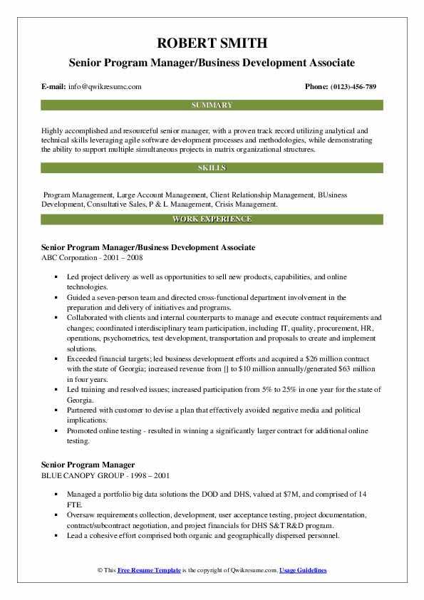 Senior Program Manager/Business Development Associate Resume Model