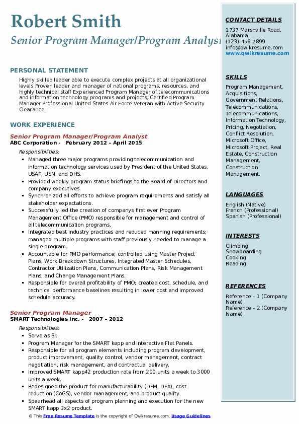 Senior Program Manager/Program Analyst Resume Template