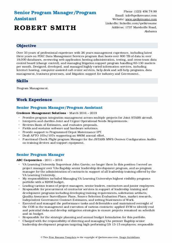 Senior Program Manager/Program Assistant Resume Format